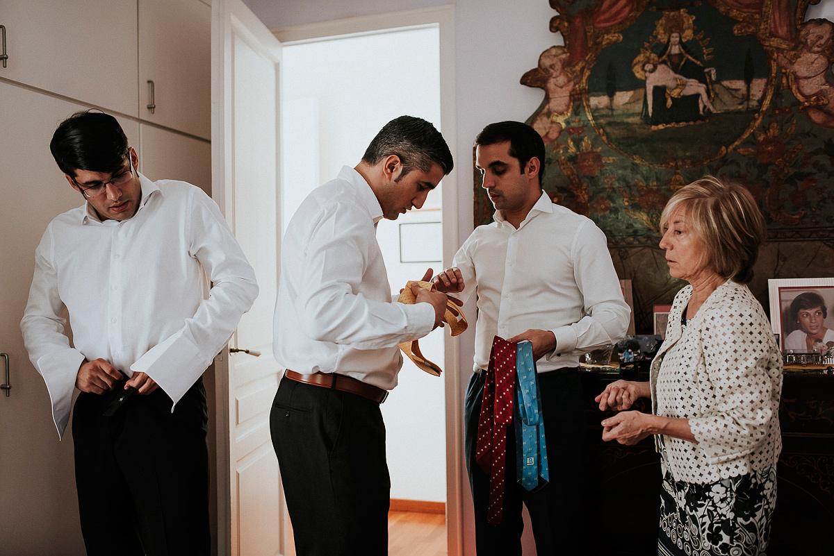 Preparativos del novio para la boda
